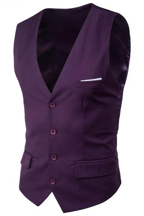 Men Suit Waistcoat Single Breasted Vest Jacket Casual Business Slim Fit Sleeveless Coat purple