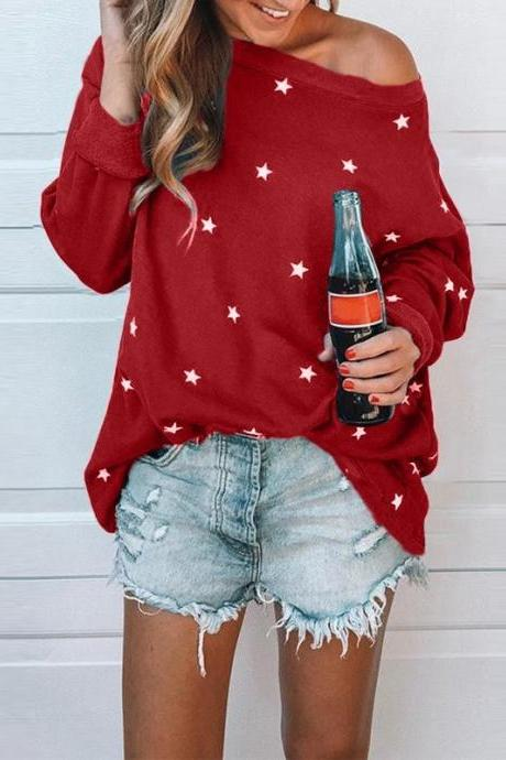 Women Long Sleeve T Shirt Spring Autumn Star Printed Casual Loose Plus Size Tops red
