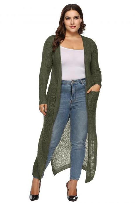 Women Knitted Sweater Coat Plus Size Long Sleeve Loose Streetwear Extra-Long Cardigan Jacket army green