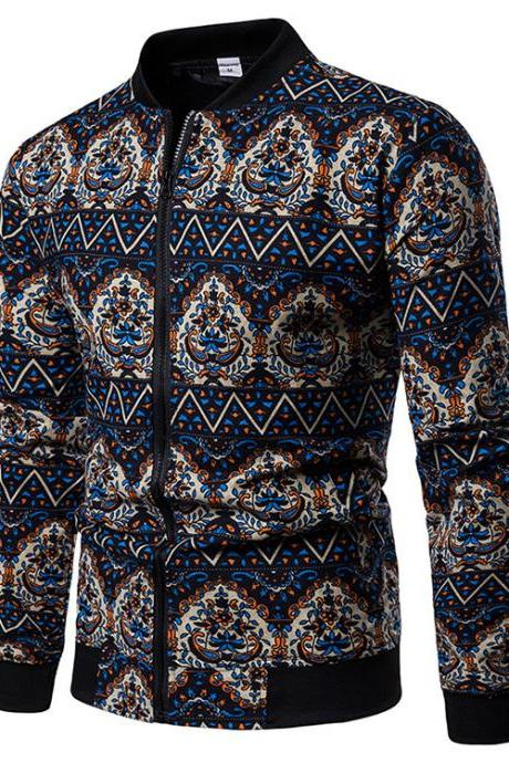 Men Floral Printed Coat Spring Autumn Long Sleeve Casual Slim Fit Bomber Baseball Windbreakers Jacket 9#