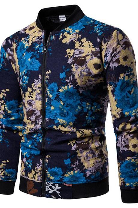 Men Floral Printed Coat Spring Autumn Long Sleeve Casual Slim Fit Bomber Baseball Windbreakers Jacket 10#