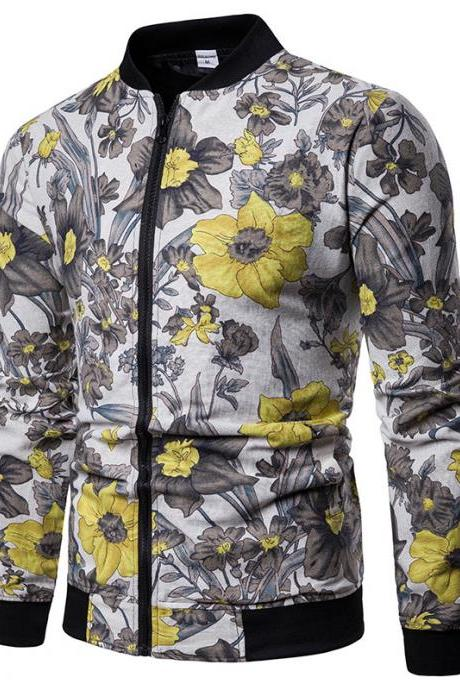 Men Floral Printed Coat Spring Autumn Long Sleeve Casual Slim Fit Bomber Baseball Windbreakers Jacket 16#