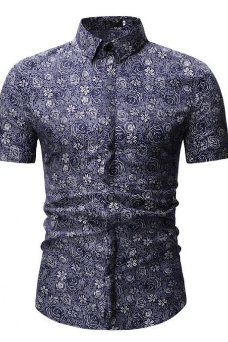 Men Floral Printed Shirt Summer Beach Short Sleeve Hawaiian Holiday Vacation Casual Slim Fit Shirt 6#