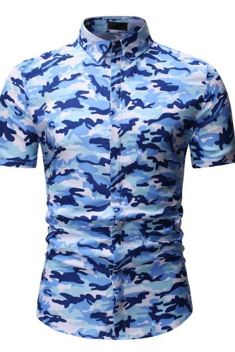 Men Floral Printed Shirt Summer Beach Short Sleeve Hawaiian Holiday Vacation Casual Slim Fit Shirt 8#