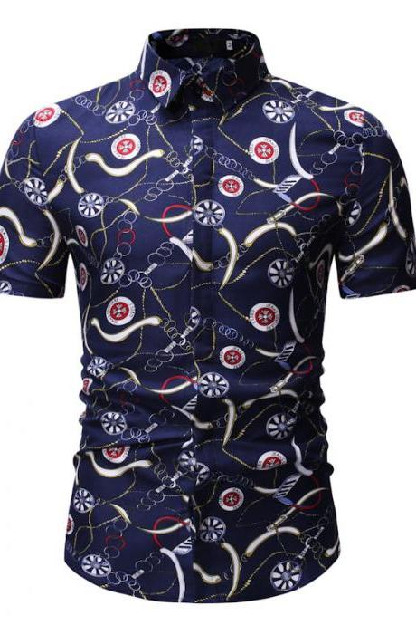 Men Floral Printed Shirt Summer Beach Short Sleeve Hawaiian Holiday Vacation Casual Slim Fit Shirt 12#