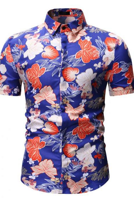 Men Floral Printed Shirt Summer Beach Short Sleeve Hawaiian Holiday Vacation Casual Slim Fit Shirt 15#