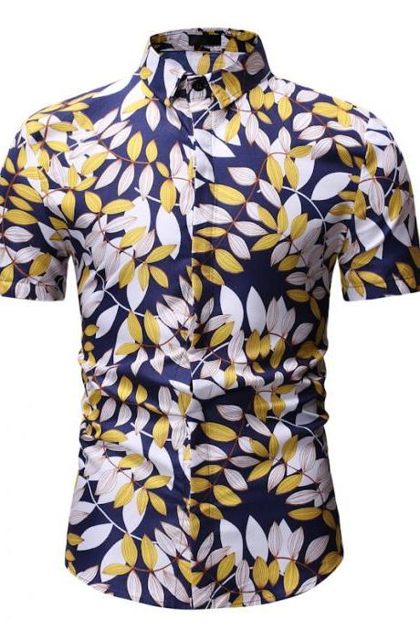 Men Floral Printed Shirt Summer Beach Short Sleeve Hawaiian Holiday Vacation Casual Slim Fit Shirt 17#