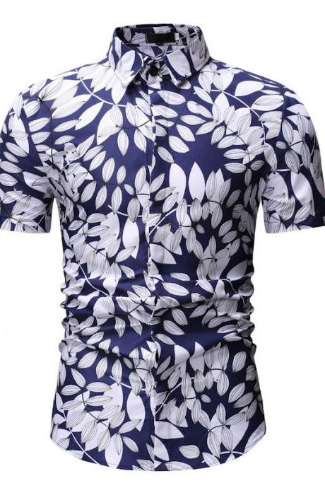 Men Floral Printed Shirt Summer Beach Short Sleeve Hawaiian Holiday Vacation Casual Slim Fit Shirt 18#