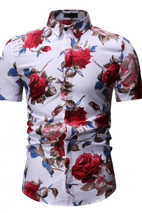 Men Floral Printed Shirt Summer Beach Short Sleeve Hawaiian Holiday Vacation Casual Slim Fit Shirt 22#