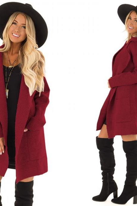 Women Woolen Coat Autumn Winter Casual Loose Pocket Long Sleeve Jacket Outwear crimson