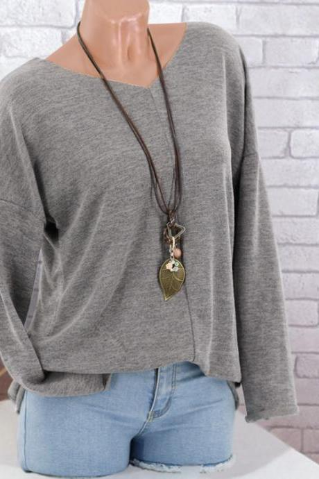 Women Knitted Sweater Autumn V Neck Long Sleeve Casual Loose Plus Size Pullover Tops gray