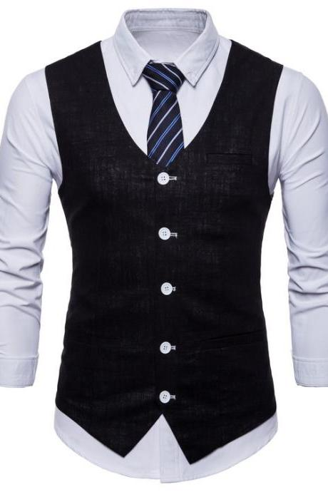 Men Suit Waistcoat V Neck Vest Jacket Single Breasted Casual Slim Fit Sleeveless Coat black
