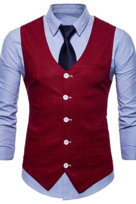 Men Suit Waistcoat V Neck Vest Jacket Single Breasted Casual Slim Fit Sleeveless Coat crimson