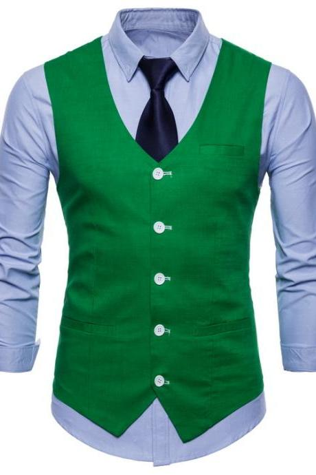 Men Suit Waistcoat V Neck Vest Jacket Single Breasted Casual Slim Fit Sleeveless Coat green