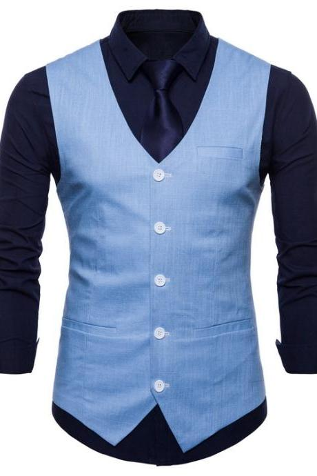 Men Suit Waistcoat V Neck Vest Jacket Single Breasted Casual Slim Fit Sleeveless Coat light blue