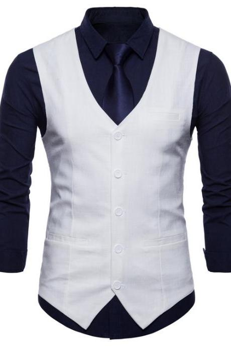 Men Suit Waistcoat V Neck Vest Jacket Single Breasted Casual Slim Fit Sleeveless Coat off white