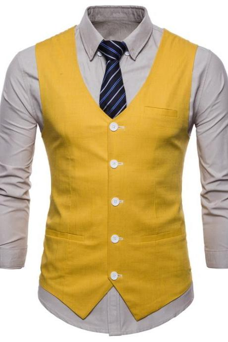 Men Suit Waistcoat V Neck Vest Jacket Single Breasted Casual Slim Fit Sleeveless Coat yellow