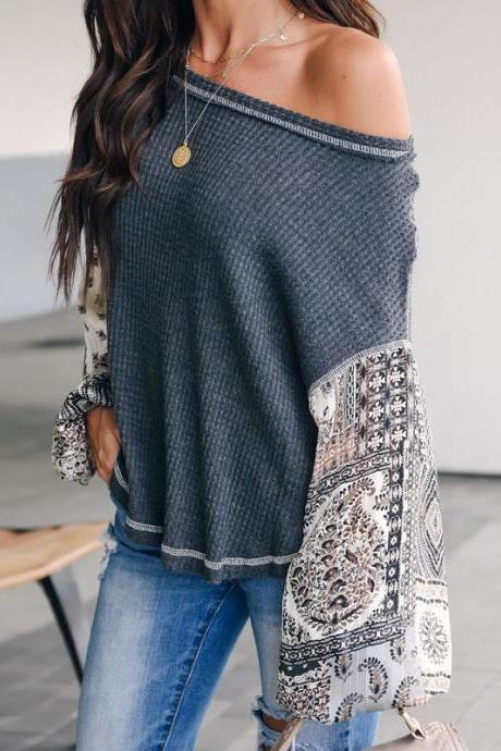 Women Knitted Sweater Autumn Long Lantern Sleeve Patchwork Casual Loose Pullovers Tops gray
