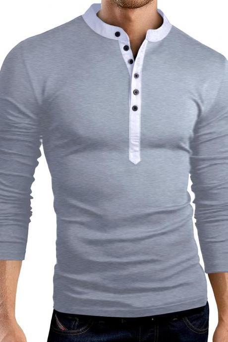 Men Long Sleeve T Shirt Spring Autumn V Neck Button Slim Fit Casual Tops gray