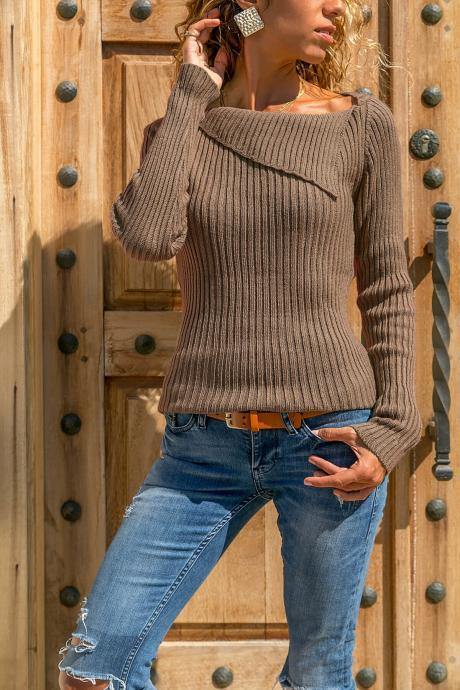 Women Knitted Sweater Autumn Winter Solid Long Sleeve Casual Pullover Tops brown