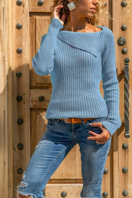 Women Knitted Sweater Autumn Winter Solid Long Sleeve Casual Pullover Tops sky blue