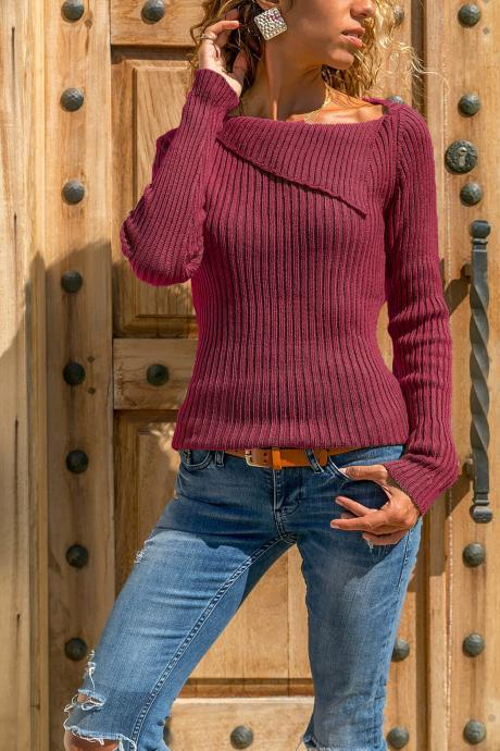 Women Knitted Sweater Autumn Winter Solid Long Sleeve Casual Pullover Tops wine red