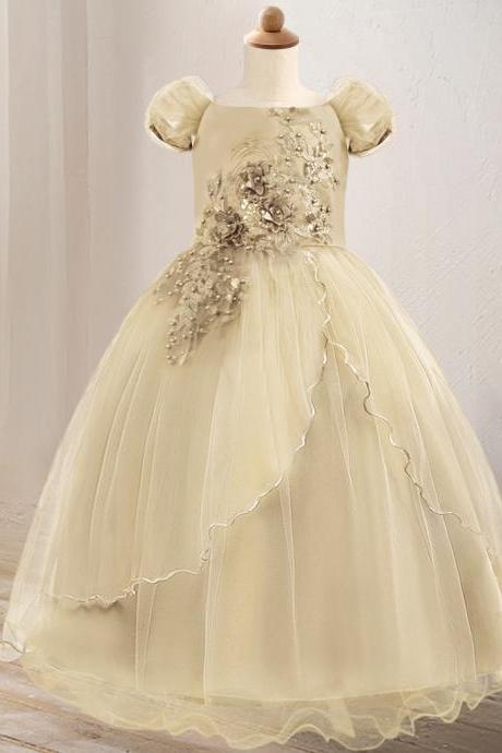 Off The Shoulder Flower Girl Dress Lace Formal Birthday Pageant Long Party Gown Children Clothes champagne