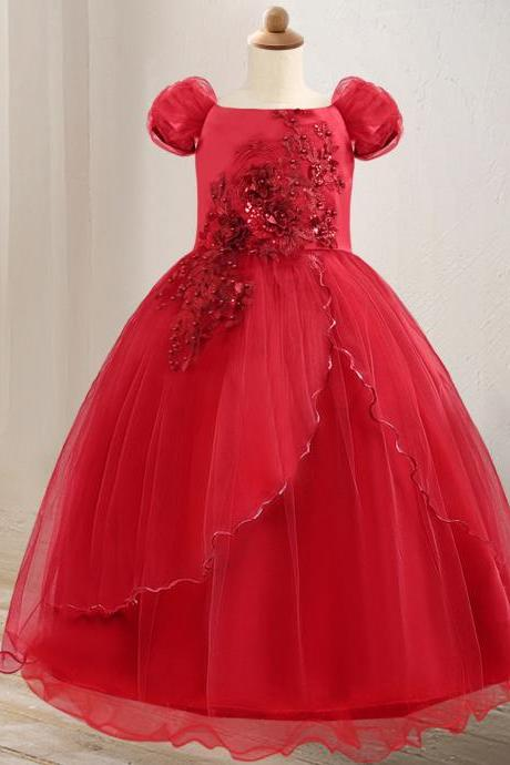 Off The Shoulder Flower Girl Dress Lace Formal Birthday Pageant Long Party Gown Children Clothes red