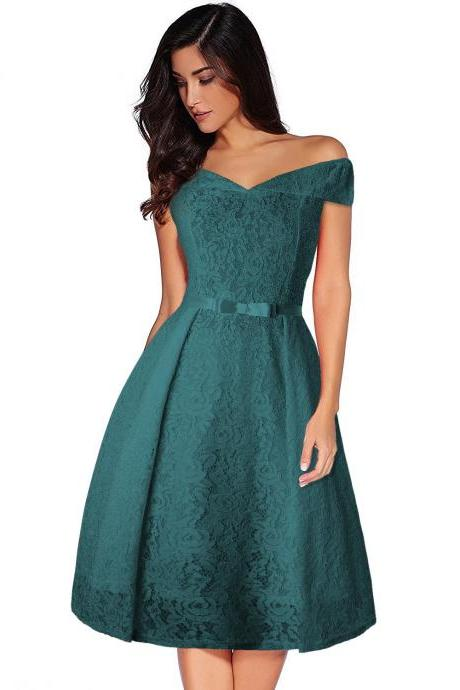 Women Floral Lace Dress Off the Shoulder Casual Patchwork A Line Formal Party Dress green