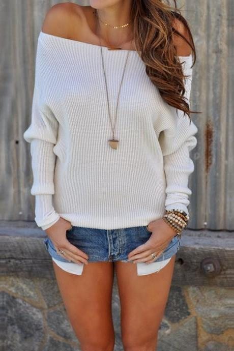 Women Sweater Spring Autumn Off the Shoulder Long Sleeve Casual Slim Pullover Tops off white