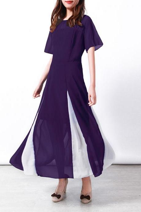 Women Maxi Dress Short Sleeve Patchwork Summer Casual Chiffon Long Dress purple