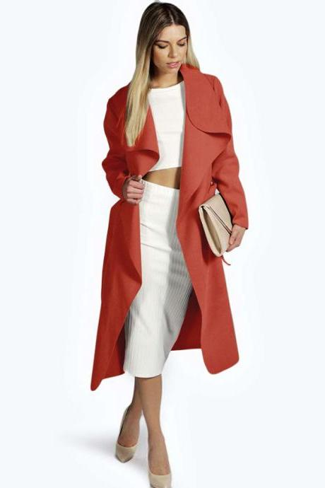 Women Woolen Blend Coat Autumn Winter Long Sleeve Casual Belted Trench Jacket Outwear red