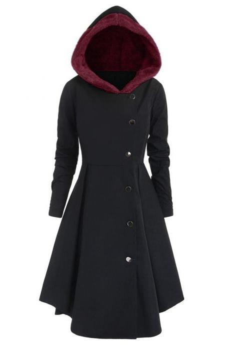 Women Trench Coat Autumn Winter Long Sleeve Single Breasted Slim A Line Jacket Outerwear black+wine red