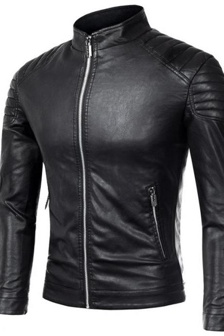 Men Faux PU Leather Coat Spring Autumn Long Sleeve Zipper Slim Fit Motorcycle Biker Jacket Outerwear black