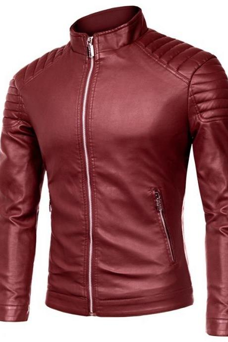 Men Faux PU Leather Coat Spring Autumn Long Sleeve Zipper Slim Fit Motorcycle Biker Jacket Outerwear wine red