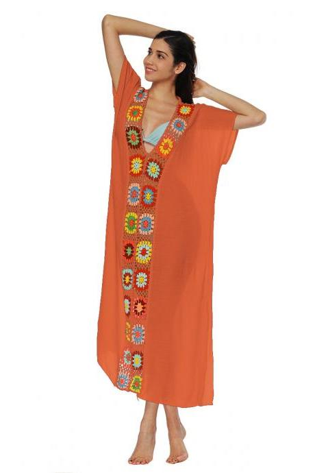 Women Summer Beach Dress V Neck Short Sleeve Patchwork Casual Loose Long Maxi Dress Beachwear orange