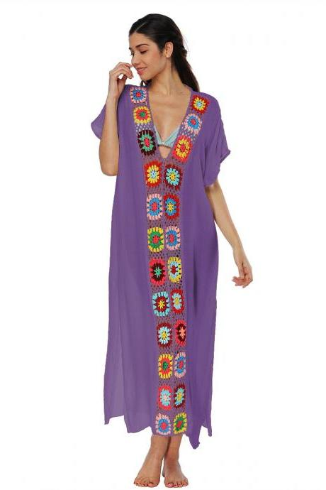 Women Summer Beach Dress V Neck Short Sleeve Patchwork Casual Loose Long Maxi Dress Beachwear purple