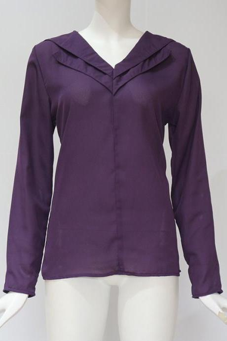 Women Chiffon Blouse Spring Autumn V Neck Long Sleeve Casual Loose Plus Size Tops Shirt purple