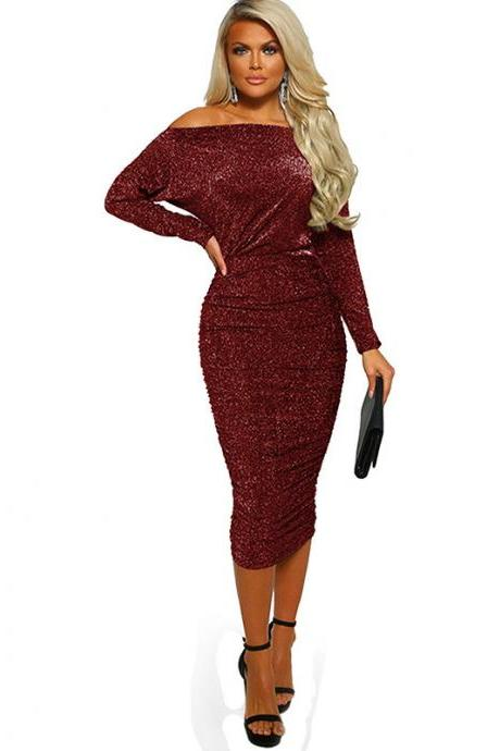 Women Pencil Dress Sexy Off the Shoulder Long Sleeve Bodycon Midi Club Party Dress red