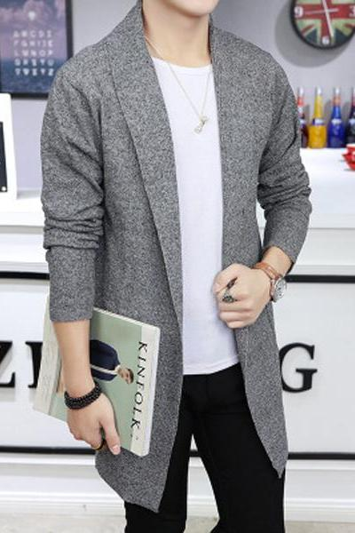 Men Sweater Coat Spring Autumn Long Sleeve Casual Slim Knitted Cardigan Jacket Outerwear gray