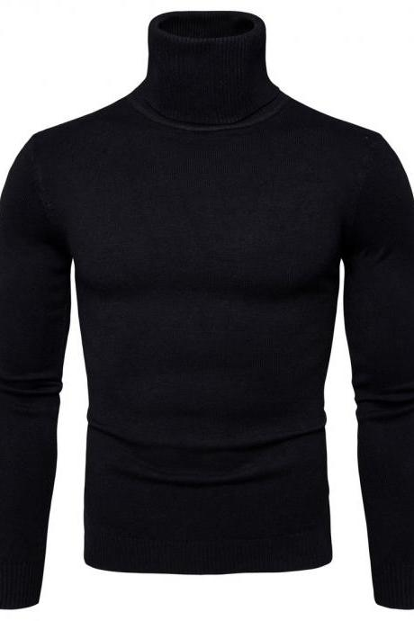 Men Knitted Sweater Autumn Winter Turtleneck Long Sleeve Casual Slim Pullover Tops black