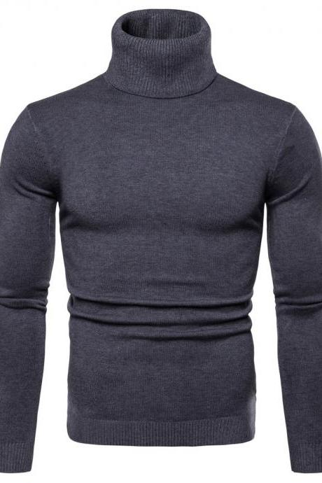 Men Knitted Sweater Autumn Winter Turtleneck Long Sleeve Casual Slim Pullover Tops dark gray