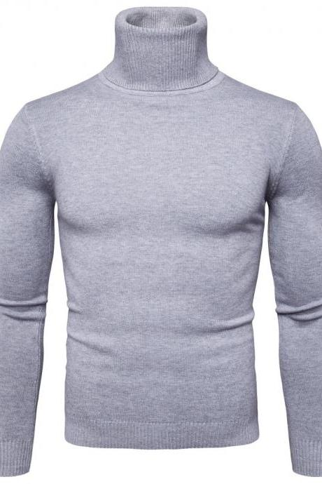Men Knitted Sweater Autumn Winter Turtleneck Long Sleeve Casual Slim Pullover Tops light gray