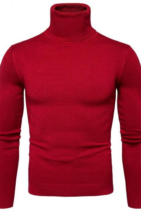 Men Knitted Sweater Autumn Winter Turtleneck Long Sleeve Casual Slim Pullover Tops red