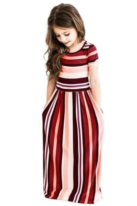 Striped Flower Girl Dress Short Sleeve Formal Birthday Long Party Gown Children Kids Clothes wine red