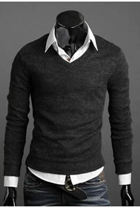 Men Knitwear Sweater Spring Autumn V Neck Long Sleeve Jumpers Casual Slim Pullover Tops dark gray