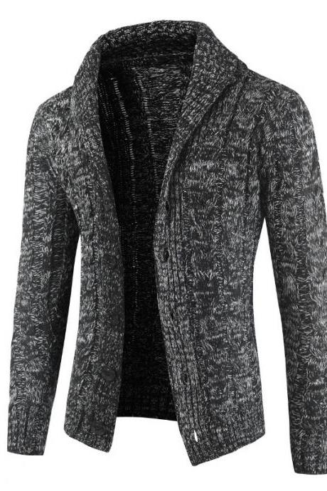 Men Sweater Coat Autumn Winter Warm Long Sleeve Casual Turn-Down Collar Button Knitted Cardigan Jacket dark gray
