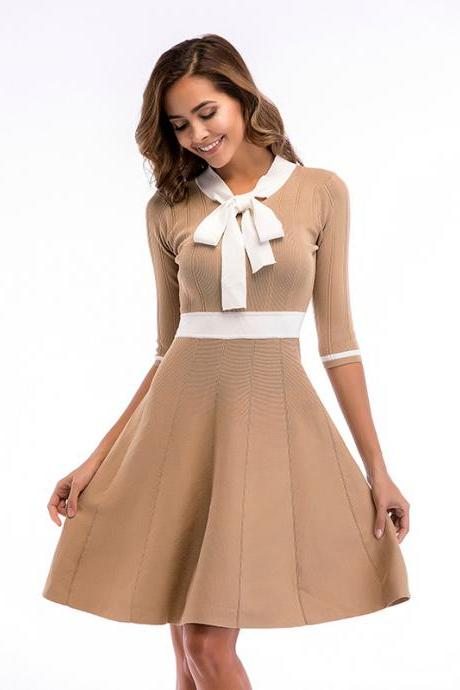 Women Knitting Dress Autumn Patchwork Half Sleeve Bow Neck Slim A Line Casual Party Dress khaki