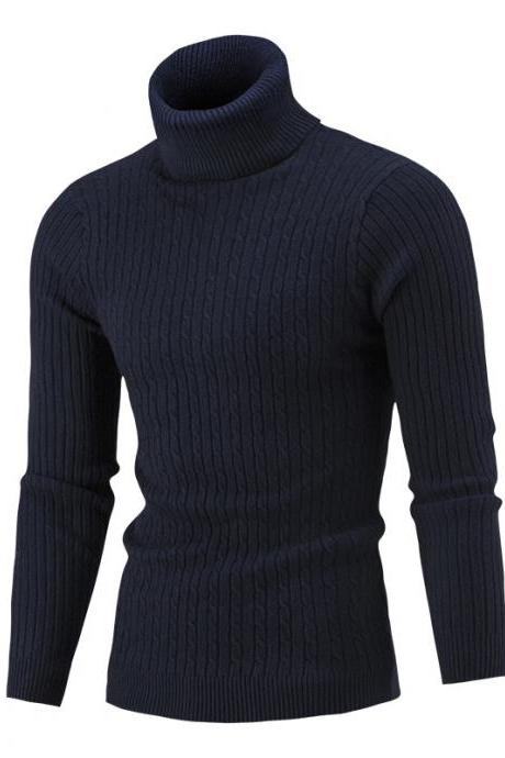 Men Sweater Autumn Winter Turtleneck Long Sleeve Casual Slim Fit Knitted Pullover Tops navy blue