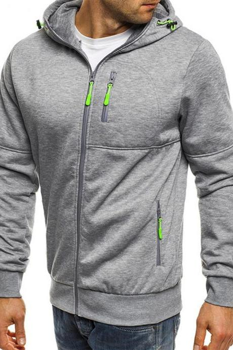 Men Hoodie Coat Spring Autumn Long Sleeve Hooded Zipper Fitness Casual Sweatshirt Jacket light gray